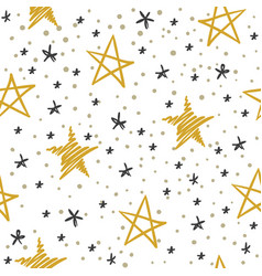 sketch star seamless pattern starry sky with vector image