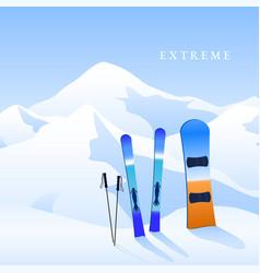 Ski resort skiing and snowboard on hillside and vector