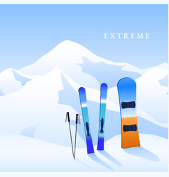 Ski resort skiing and snowboard on hillside vector