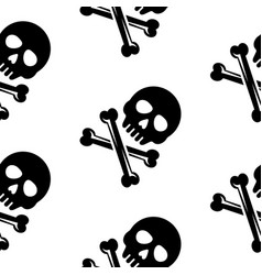 skull and bones black seamless pattern vector image