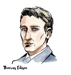 Thomas edison portrait vector