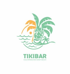tiki bar logo design with tiki mask on beach vector image
