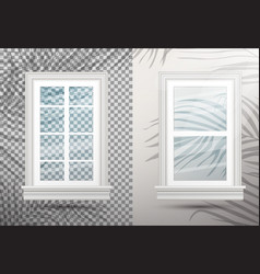 two closed realistic glass windows with shadows vector image