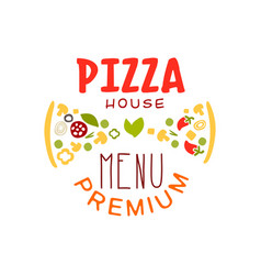 Typography flat pizzeria house logo creative vector