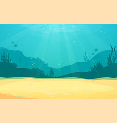 underwater cartoon flat background with fish vector image