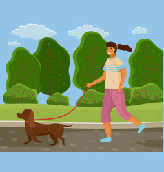 Walk with dog in park girl is going with a vector