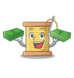 With money thread bobbin isolated on a mascot vector