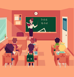 woman stands at blackboard in classroom with vector image