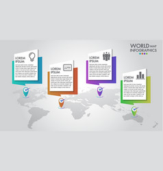 World map business infographics 4 options vector