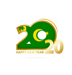 Year 2020 with cocos islands flag pattern happy vector