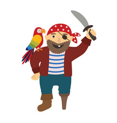 cartoon pirate pirate with a parrot on his vector image