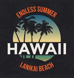 hawaii beach with palm tree t-shirt design vector image