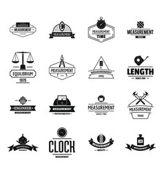measure precision logo icons set simple style vector image vector image