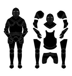 Medieval knight armor set Black vector image vector image