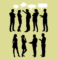 People talking with speech bubbles silhouette vector image vector image