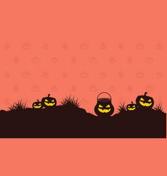 Pumpkin on hill halloween style background vector