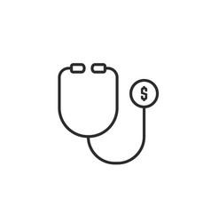 thin line stethoscope like financial health vector image