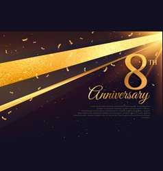 8th anniversary celebration card template vector image vector image