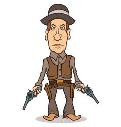 Angry cartoon cowboy with two guns vector image vector image