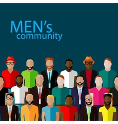 flat of male community with a large group of guys vector image