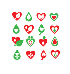 Green and red organic natural biology icon set vector