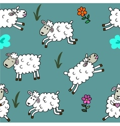 Seamless pattern with sheep colored for babyroom vector image