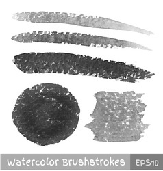 Set of Gray Watercolor Brush Strokes vector image