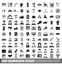 100 team work icons set in simple style vector image vector image