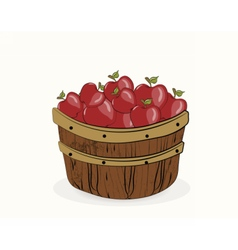 Red apples in a wooden basket vector image