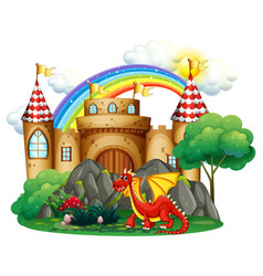 Red dragon at the castle tower vector