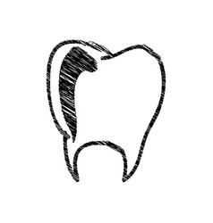 Silhouette drawing tooth dental icon vector