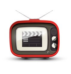 vintage tv with film clap on screen retro vector image