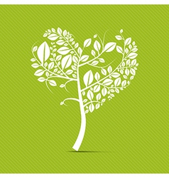 Abstract heart shaped white tree on green vector image vector image