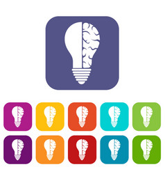 brain lamp icons set flat vector image vector image