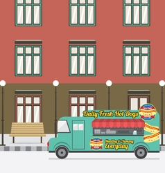 Food Truck Parking At The Empty Street vector image