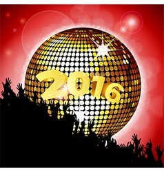 New Years party 2016 with disco ball and crowd vector image vector image