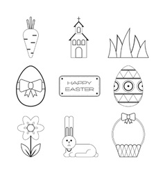 Set of Easter outline flat icons Collection vector image