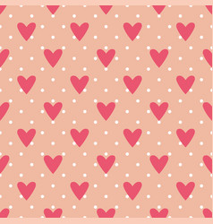 tile cute pattern with hearts and polka dots vector image