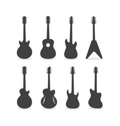 12 string guitar silhouette set vector