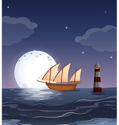 A wooden boat in the ocean vector image