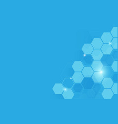 Abstract blue geometric hexagon shape background vector