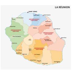 Administrative map la reunion france vector