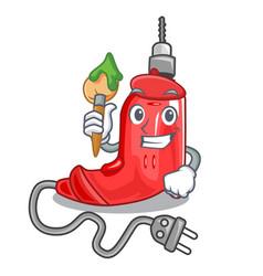Artist electric drill in cartoon shape vector