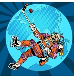 Astronaut plays hockey over planet Earth vector image