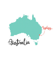 australia map dotted sydney capital of australia vector image