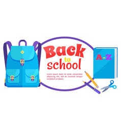 back to school poster rucksack and accessory set vector image