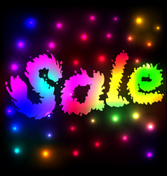 Background with neon glowing sale word vector