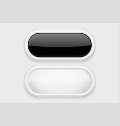 Black and white glass buttons on white plastic vector