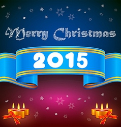 Blue ribbon 2015 Christmas background vector image