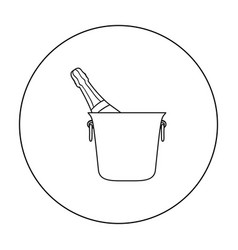 bottle of champagne in an ice bucket icon in vector image